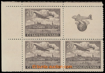 219361 - 1946 Pof.L22N Ka, NEVYDANÁ Letecké motivy 20Kčs hnědá,