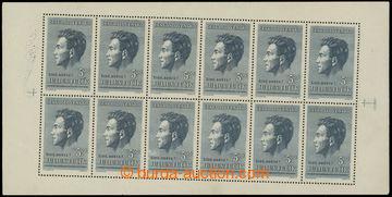 219406 - 1951 Pof.PL574, Fučík 5Kčs, 12-blok, výrazně šikmý o�