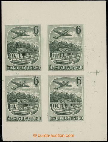 219412 - 1951 Pof.L33N, Lázně 6Kčs zelená, NEZOUBKOVANÝ 4-blok z