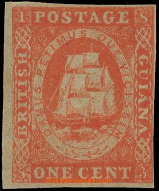 219662 - 1853 SG.11, Tallship 1C vermilion (lithografie Waterlow); ve