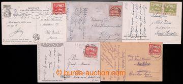 219711 - 1918-1919 RANÉ POUŽITÍ / sestava 5ks pohlednic vyfr. zn.