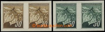 219736 - 1945 Pof.373N-374N, Lipové listy 30h a 50h v NEZOUBKOVANÝC