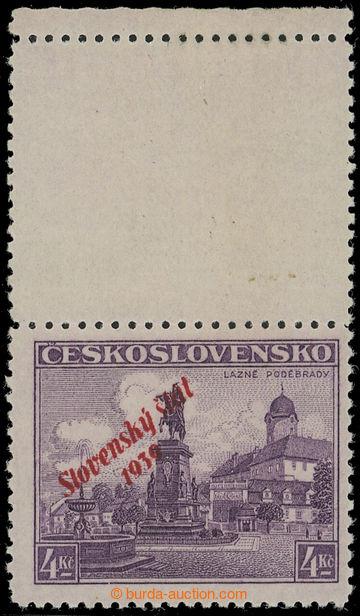 219868 - 1939 Sy.20 KH, Poděbrady 4Kč s horním kupónem s okrajem;