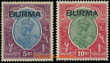 220029 - 1937 SG.15, 16, Jiří V. 5Rs a 10Rs s přetisky BURMA; bezv