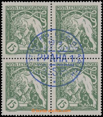 220067 -  Pof.27Aq, Lev trhající okovy 15h světle zelená, 4-blok