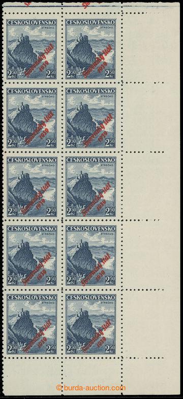 220093 - 1939 Sy.17 ST, Strečno 2,50CZK blue, R marginal blk-of-10 w