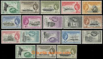 220126 - 1954-1962 SG.G26-G40, Alžběta II. - Lodě, ½P - £1, komp