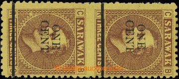 220214 - 1892 SG.27c, svislá krajová 2-páska Brooke 3C s přetiske