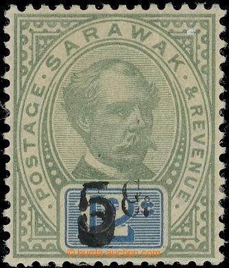 220215 - 1889 SG.25c, Brooke 12C s přetiskem 5C, přetisk DVOJITÝ;
