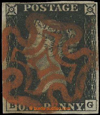220222 - 1840 SG.1, PENNY BLACK sytě černá, TD 4, písmena B-G; be
