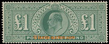 220230 - 1902 SG.266, Edvard VII. £1 modro-zelená; mimořádně kva