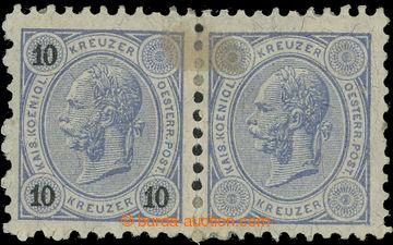 220250 - 1890 Ferch.54, 2-páska FJ I. 10Kr s VYNECHANÝM TISKEM NOMI