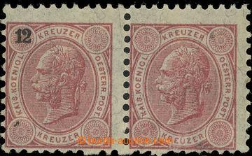 220251 - 1890 Ferch.55, 2-páska FJ I. 12Kr s VYNECHANÝM TISKEM NOMI