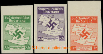 220567 - 1938 SUDETENDEUTSCHES NIEDERLAND MI.IB, IIB, IIIB, Mapa Šlu
