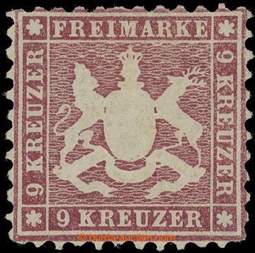 220570 - 1862 Mi.24, Coat of arms 9 Kreuzer violet-red (lilarot); ver