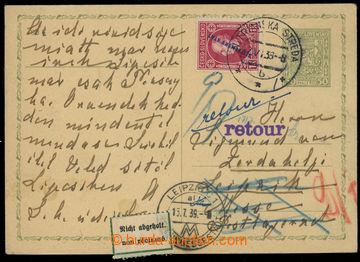 220599 - 1939 CDV65, čs. souběžná dopisnice Znak 50h dofr. přeti