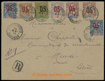 220713 - 1913 R-dopis do Francie, vyfr. barevnou frankaturou přtisko