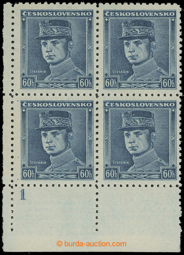 220795 - 1939 Sy.1, Modrý Štefánik 60h, levý dolní rohový 4-blo