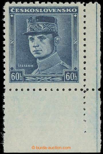 220796 - 1939 Sy.1, Modrý Štefánik 60h, pravý dolní rohový kus;