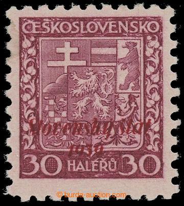 220805 - 1939 NEOFICIÁLNÍ PŘETISK / Znak 30h s červeným přetisk