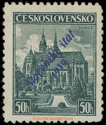 220806 - 1939 NEOFICIÁLNÍ PŘETISK / Košice 50h s modrým přetisk