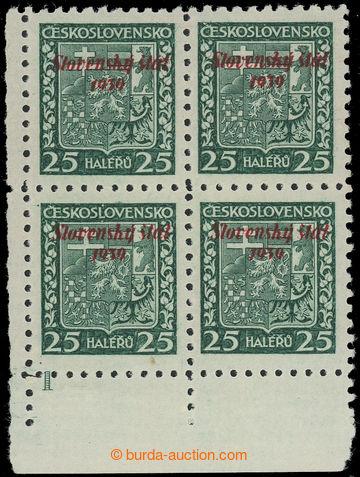 220818 - 1939 Sy.5 DČ, Znak 25h zelená, levý dolní rohový 4-blok