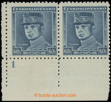 220825 - 1939 Sy.1, Modrý Štefánik 60h, levá dolní rohová vodor