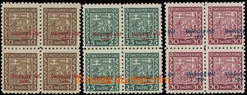 220873 - 1939 Sy.3, 5, 6 VPP, Znak 10h, 25h a 30h ve 4-blocích s vý