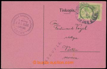 221054 - 1919 firemní lístek zaslaný jako Tiskopis ve II. TO, vyfr