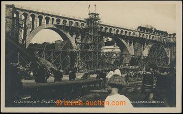 221123 - 1930 Stranovský railway viaduct - photo postcard from bridg