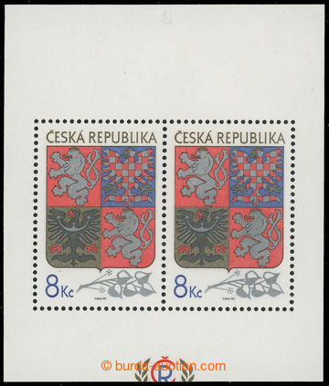 221164 - 1993 Pof.A10 VV, aršík Velký státní znak 8Kč, odlišn�