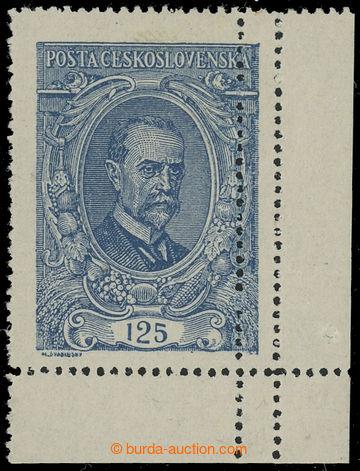 221202 -  Pof.140 VV, 125h modrá, II. typ, krajový kus, dvojitá sv