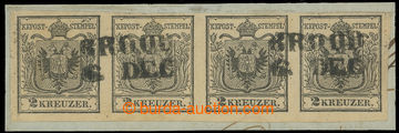 221289 - 1850 Ferch.2MIa, 4-páska Znak 2kr šedočerná, Ia typ ruč