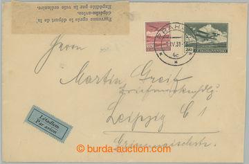 221305 - 1931 PRAHA - LIPSKO / Let-dopis do Německa, vyfr. leteckým