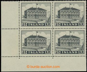 221368 - 1952 Mi.277, Parlament 25Kr šedočerná, levý dolní rohov