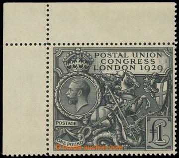 221382 - 1929 SG.438, Congress UPU £1 black, upper left corner piece