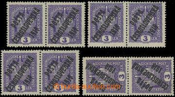 221514 -  Pof.33 STA, B, D, Koruna 3h fialová, sestava 4ks 2-pásek