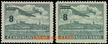 221576 - 1949 Pof.L29, Přetiskové provizorium 5/10Kčs, 2ks tisk zn