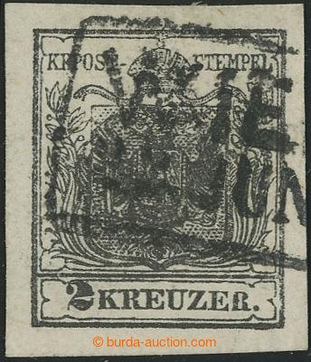 221627 - 1850 Ferch.2HI, Znak 2Kr tief schwarz Ib, PODLOŽENÝ STŘED