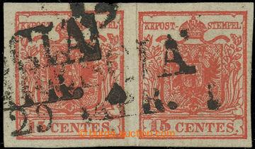 221641 - 1850 Ferch.3HI+II, 2-páska 15cts dunkel zinnoberrot SMÍŠE