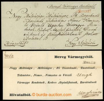 221701 - 1836-1841 V.MUNKATS  sestava 2 skládaných dopisů, 1x čer