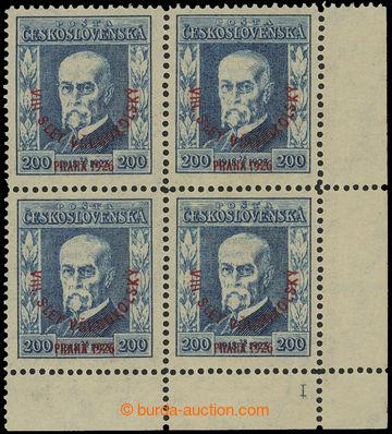 221721 - 19 Pof.185 DČ, Slet 200h modrá, pravý dolní rohový 4-bl