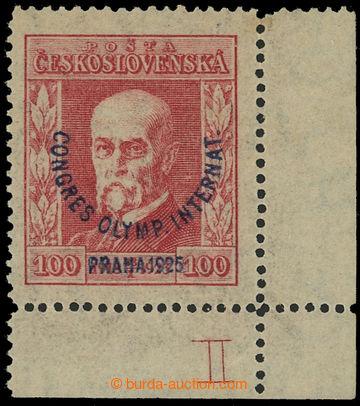 221734 - 1925 Pof.181, Kongres 100h červená, pravý dolní rohový