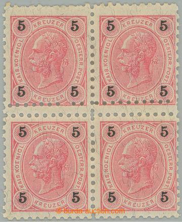 221770 - 1890 Ferch.53, FJ I. 5Kr, luxusní 4-blok s dvojitým zoubko