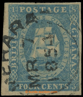 221772 - 1853-1855 SG.18, Tallship 4C deep blue, DR DEMERARA MR 7 / 1