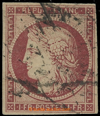 221865 - 1849 Mi.7a, Ceres REPUB. FRANC. 1Fr karmínová; plný stři