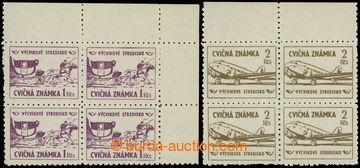 221908 - 1954 CVIČNÉ ZNÁMKY / Pof.4-5, Výplatní 1Kčs a 2Kčs v
