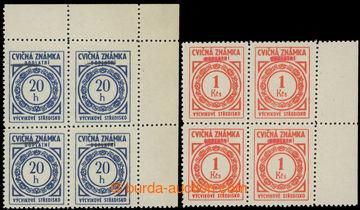 221909 - 1954 CVIČNÉ ZNÁMKY / Pof.D2-D3, Doplatní 20h a 1Kčs v k