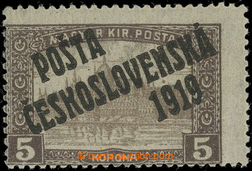 221966 -  Pof.117, 5K hnědá, I. typ; nepatrná stopa po nálepce, z