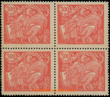 221987 -  Pof.166B Ob, 300h červená, 4-blok, HZ 13¾ : 13½, s obti